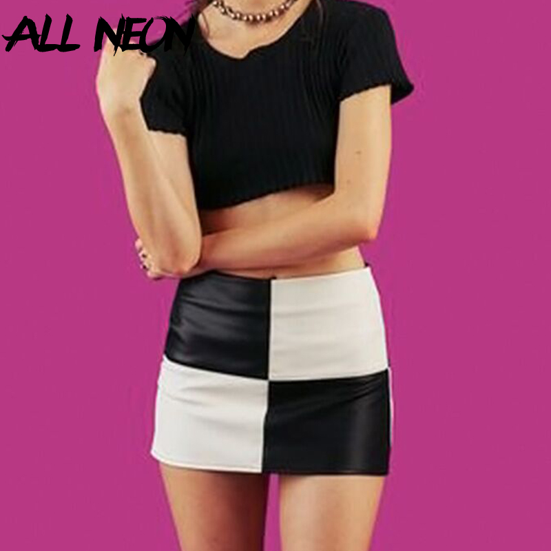 Top SaleAllneon Short Skirt A-Line Patchwork Streetwear E-Girl Vintage Black White Fashion Summer
