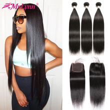 Straight Hair Bundles With Closure Human Malaysian Customized Wig Remy