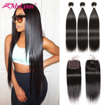 Straight Hair Bundles With Closure Peruvian Hair Bundles With Closure Human Hair Weave Bundles With Closure Mslynn Remy Hair - DISCOUNT ITEM  47% OFF All Category