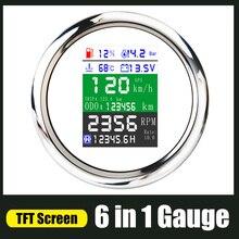 Многофункциональный цифровой измерительный прибор 6 в 1, 85 мм, GPS Спидометр, TFT-экран, датчик уровня топлива, воды, температуры, давления масла,...