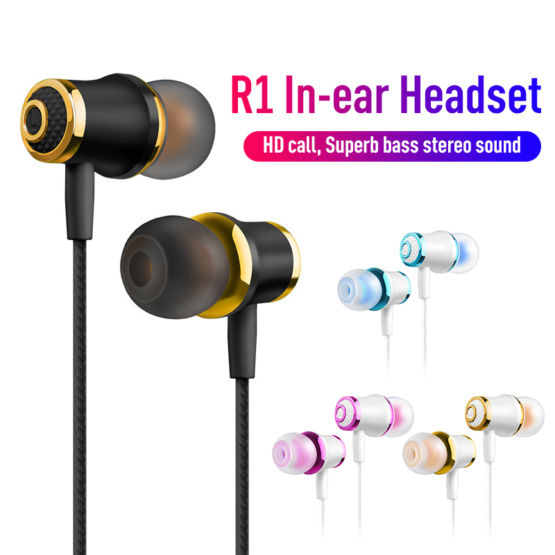 Wired Earphones New R1 Plating In-ear With Turning Smart Call Listening Song Bass Noise Reduction High-fidelity Earphones image