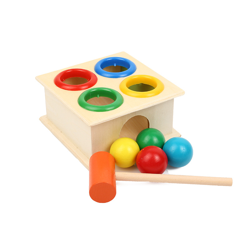 NEW Colorful Hammering Wooden Ball+Wooden Hammer Box Children Early Learning Knock Educational Toy Gift