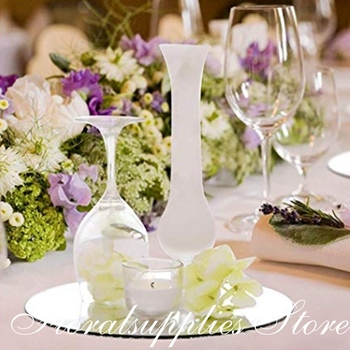 Wedding Centerpieces for Tables Mirror Trays, Mirror Wall Decoration, Round Mirror candle Plate for event party decoration