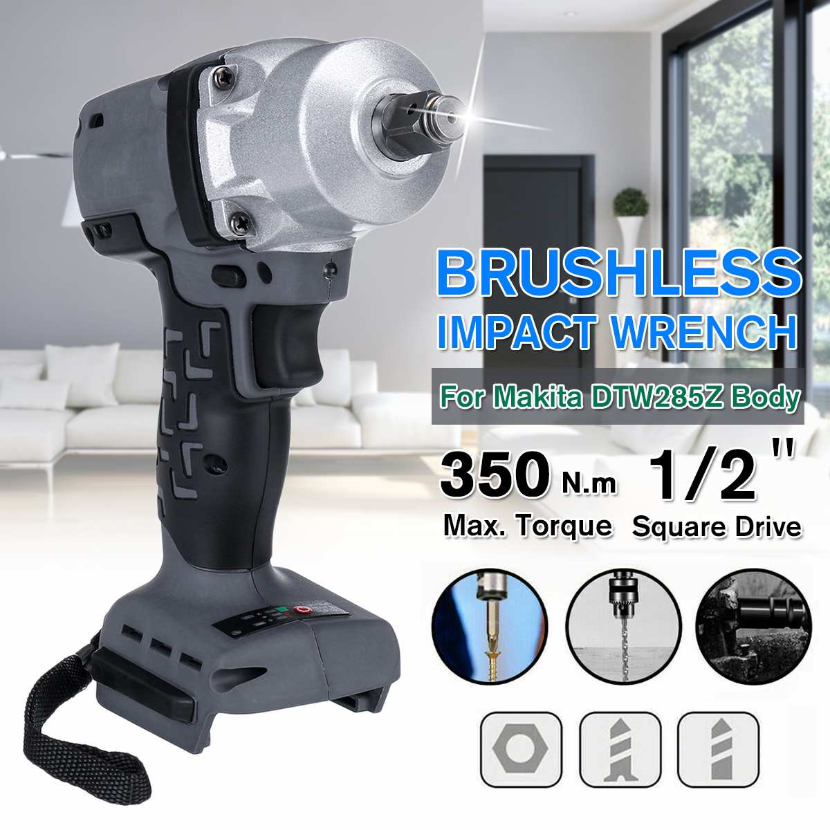 NEW 18V 350Nm Electric Rechargeable Brushless Impact Wrench Power Tool Cordless With LED Job Light For Makita Battery