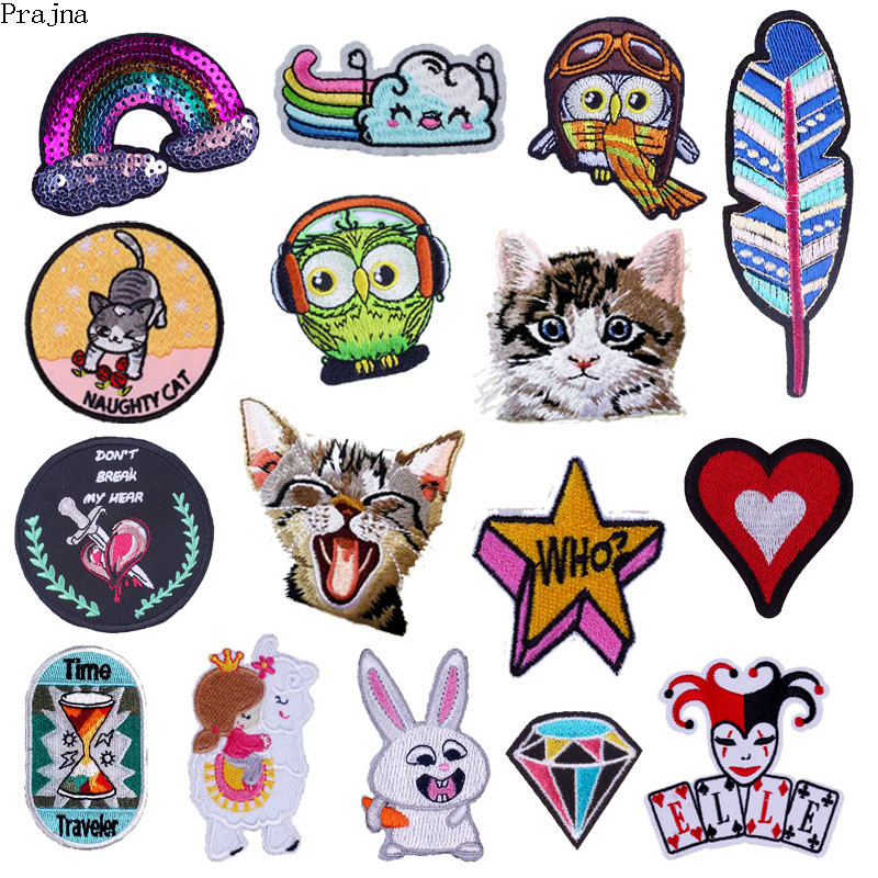 Prajna Cat Unicorn Patch Iron On Patches Cartoon Embroidered Patches For Clothes Stripe Owl Animals Patch Sticker Applique Badge