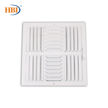 HBI 4-Way W14 x H14 Curved-Blade Ventilation Grille Air Outlet Valve Air Supply Register Air Vent Cover Steel Ceiling/Sidewall curved air curved air airborne cd digisleeve