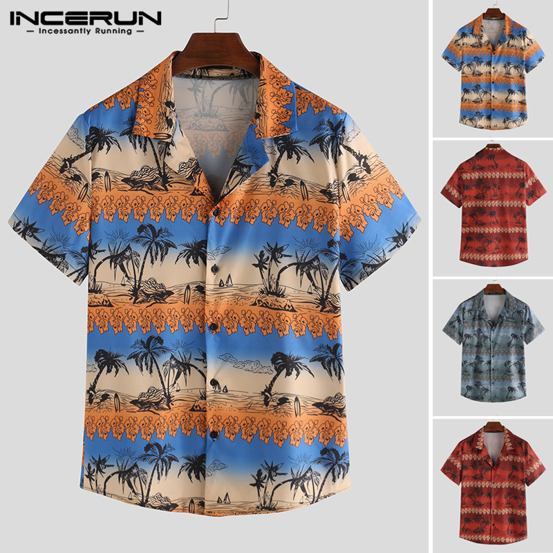INCERUN Men Hawaiian Shirt Printed Lapel Streetwear Button Breathable Camisa Short Sleeve Fashion Beach Tropical Shirts Men 2020