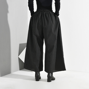 Image 5 - EAM pantalones de pierna ancha a rayas largo para mujer, pantalón negro, cintura alta elástica, corte holgado, moda, Primavera, Otoño, 2020, SA9550