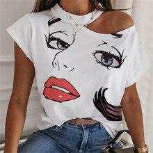 Lip Eyelashes Prints Tshirt Women Harajuku Princess Streetwear Short Sleeve Bare Shoulder Female T-shirt Vogue Kawaii T-shirt