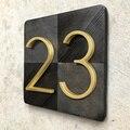 125 мм Золотой плавающий современный номер дома атласная латунная дверь домашние адресные Номера для дома цифровые уличные таблички вывески...