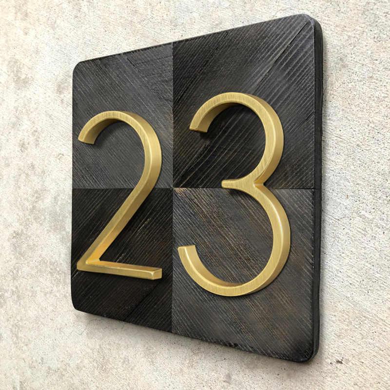 125mm Vàng Nổi Hiện Đại Số Nhà Satin Đồng Cửa Địa Chỉ Nhà Số cho Nhà Kỹ Thuật Số Ngoài Trời Ký Đĩa 5 trong. #0-9