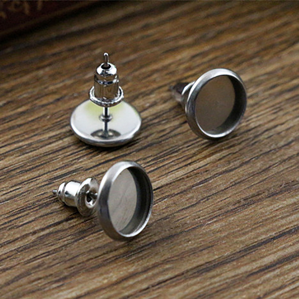 (Never Fade) 20pcs 6mm 8mm 10mm Stainless Steel Earring Base Studs Ear Cameo Settings Cabochon Base Tray Blank (With Back)