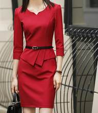 Dress Suits Office Ladies Wear Work Formal Business Fake 2 Piece Set Plus Size Spring Autumn Black Red Blue Women Mini Dresses(China)