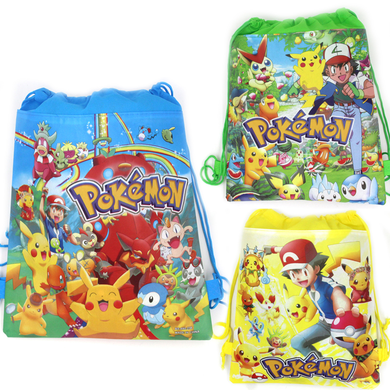 12pcs Pokemon Go Baby Shower Kids Favors Non-woven Fabric Drawstring Mochila Gifts Bags Pikachu Backpack Birthday Party Supplies