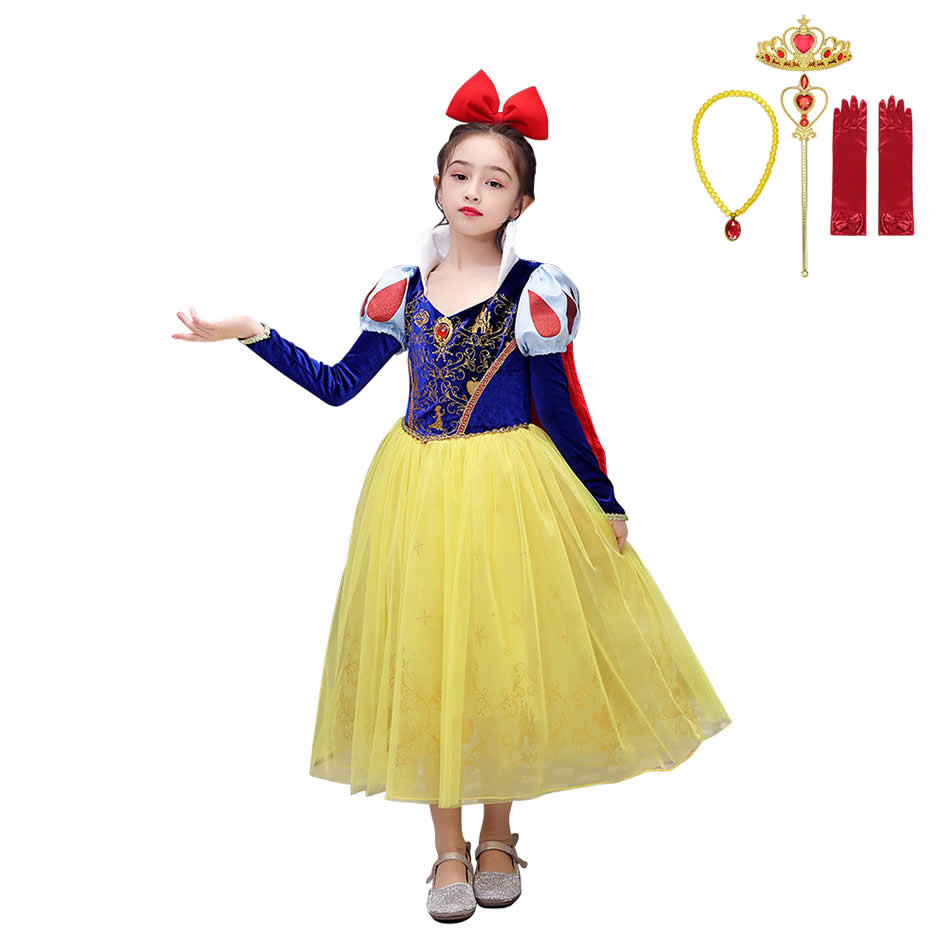 MUABABY Girls Gorgeous Snow White Dress Long Sleeve Velvet Gold Print Sequins Lace Role Playing Costumes Child Fancy Clothes