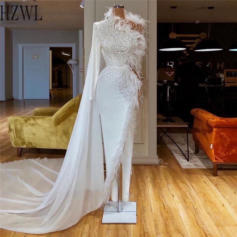 Pióra frezowanie formalne suknie wieczorowe 2020 nowy długi biały sukienka na studniówkę z Wrap vestidos de cocktail robe de soiree suknia wieczorowa