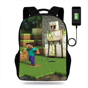 Женский рюкзак для ноутбука с мультипликационным принтом, USB рюкзак для школы