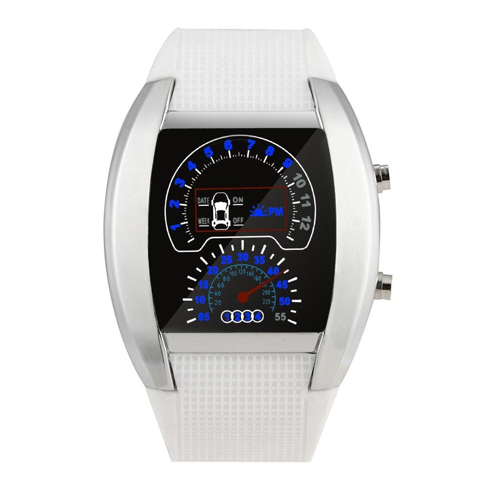 Female Watch Fashion Aviation Turbo Dial Flash LED Watch Gift Mens Lady Sports Car Meter Wristwatch Gift High Quality Clock#8