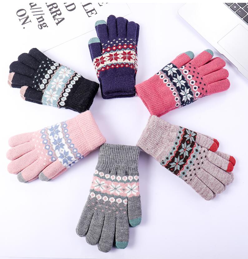 Women's Winter Thicken Warm Double Layer Snow Knitted Gloves Female Winter Thicken Driving Glove R1980