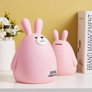Śliczne zaoszczędź pieniądze kasa skarbonka duża skarbonka dla dzieci pieniądze bezpieczne pudełko na monety skarbonka skarbonka piękne Piggy prezenty tanie i dobre opinie CN (pochodzenie) SHDB8820106 Winylu Little bear pink brown Bear rabbit Piggy bank gift decoration