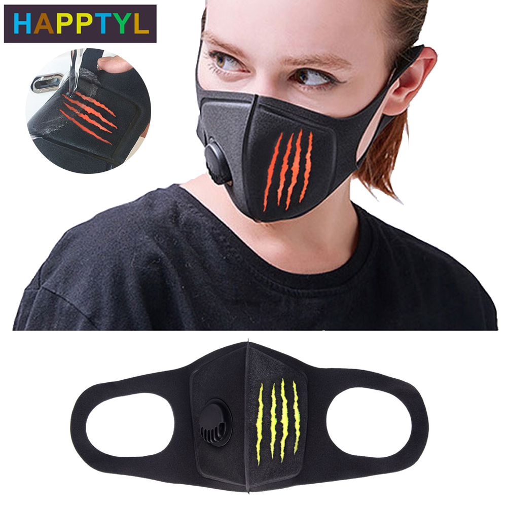 HAPPTYL Respiratory Dust Mask Monster Claw Mark Men & Women Anti-fog Haze Dust Pm2.5 Pollen 3D Cropped Breathable Valve Mask
