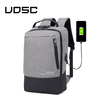 UOSC Gray Laptop Backpack USB Charging Backbag Travel Daypacks Male School Vacancy Backpack Theft Mochila Bookbag the casual vacancy