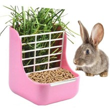 Rabbit Food Feeder Small Animal Supplies Rabbit Chinchillas Guinea Pig 2 in 1 Feeder Bowls Double Use for Grass and Food(China)