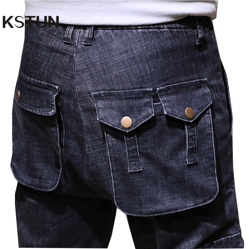 KSTUN Men Jeans Dark Blue Loose Fit Multi Pockets Casual Cargo Pants Harem Jeans Men Streetwear Hip Hop Male Joggers Jeans Homme