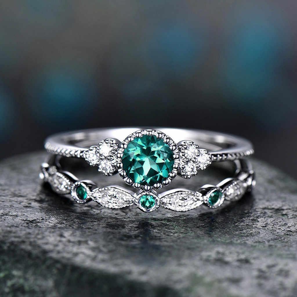 2 uds. De la vendimia Bohemia corona corazón cristal Junta anillo de piedras preciosas naturales brillantes conjunto de anillos de boda de zafiro Esmeralda para mujer