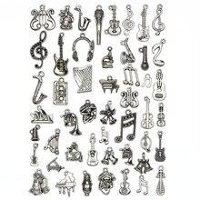 50 unids/lote mezcla de abalorios musicales instrumentos Vintage colgante micrófono guitarra violín DIY fabricación de joyas