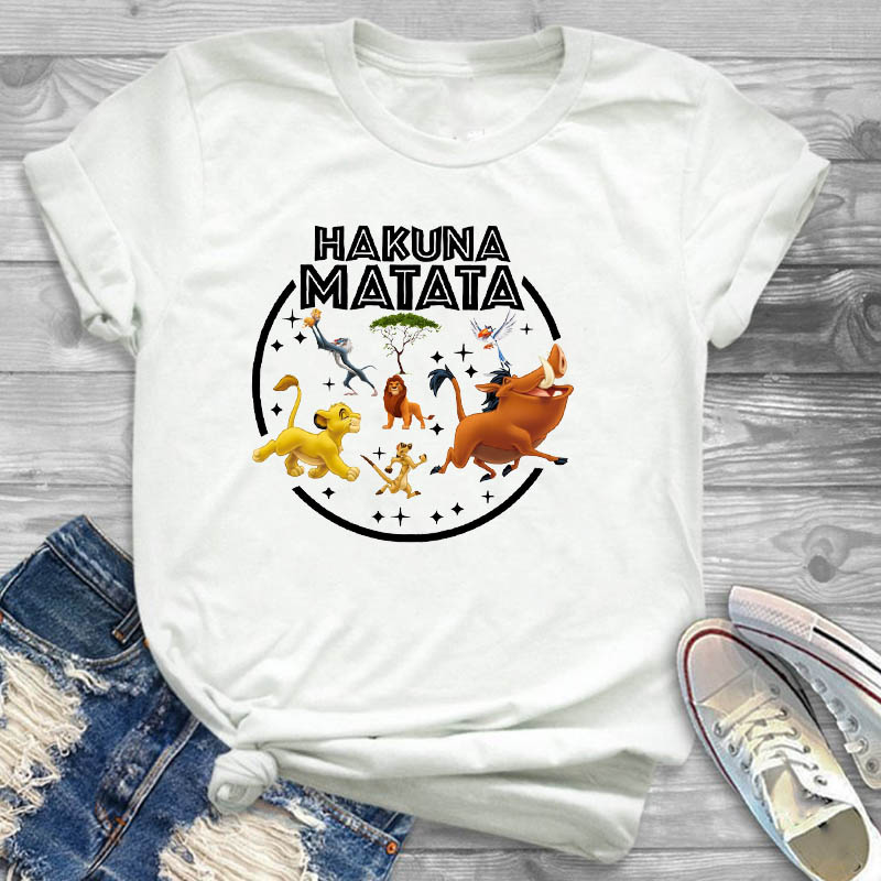 Women Cartoon <font><b>Hakuna</b></font> <font><b>Matata</b></font> <font><b>Lion</b></font> <font><b>King</b></font> Print Fashion Short Sleeve Womens Female Graphic T Shirt T-Shirt Tee Shirt Tees T-shirts image