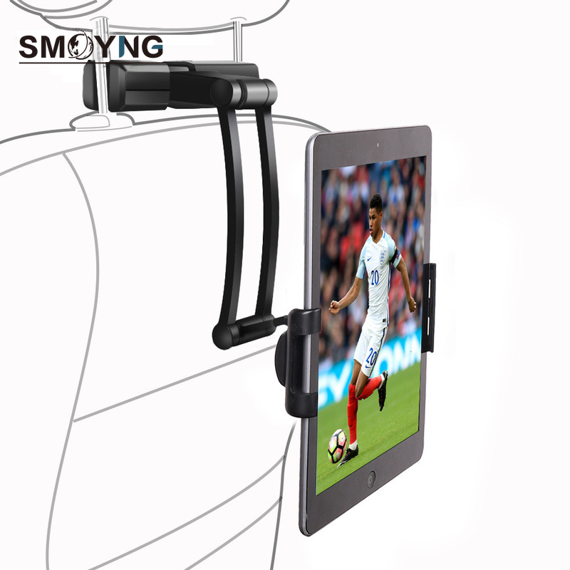 SMOYNG Aluminum Back Seat Headrest Tablet Phone Car Holder Stand For 5-13 Inch iPhone iPad Air Mini 2 3 4 Pro 12.9 Support Mount