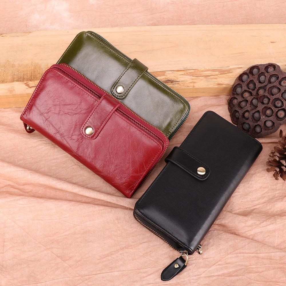Women Genuine Leather Long Wallet High Quality Zipper Purse Female Phone Case Day Clutch Fashion Soft Cards Holder Coin Wallet