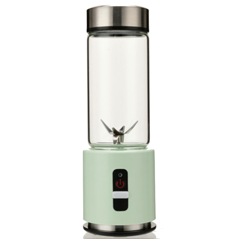 Usb Rechargeable Smoothie Blender 380Ml Glass Smoothie Blender Juicer Easy Small Portable Blender Green image