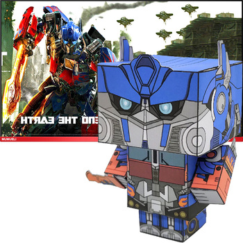 No-glue Optimus Prime Transformers Folding 3D Paper Model Papercraft Anime Game Figure DIY Cubee Kids Adult Craft Toys CS-051 image