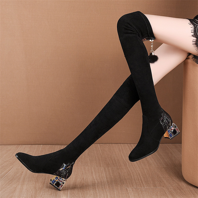 Winter Boots Women Rhinestone High Heels Boots Sexy Over The Knee High Boots Women Black Stretch Boots Winter Women Shoes botas