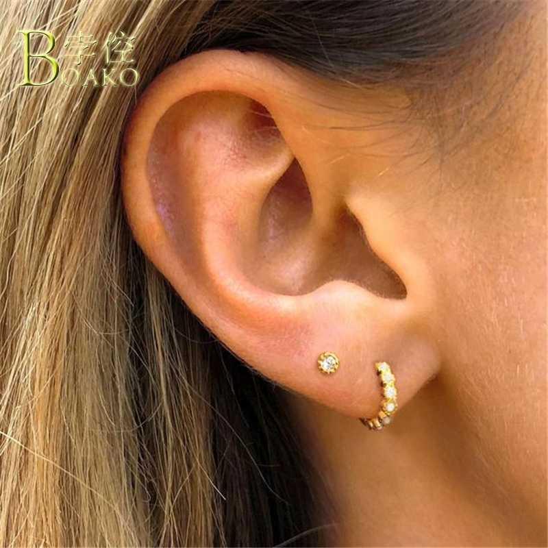 Punk 925 เงินสเตอร์ลิงต่างหู Zircon ขนาดเล็ก Hoop ต่างหูของขวัญ Gold กระดูกอ่อนหูต่างหูผู้ชาย aretes b5
