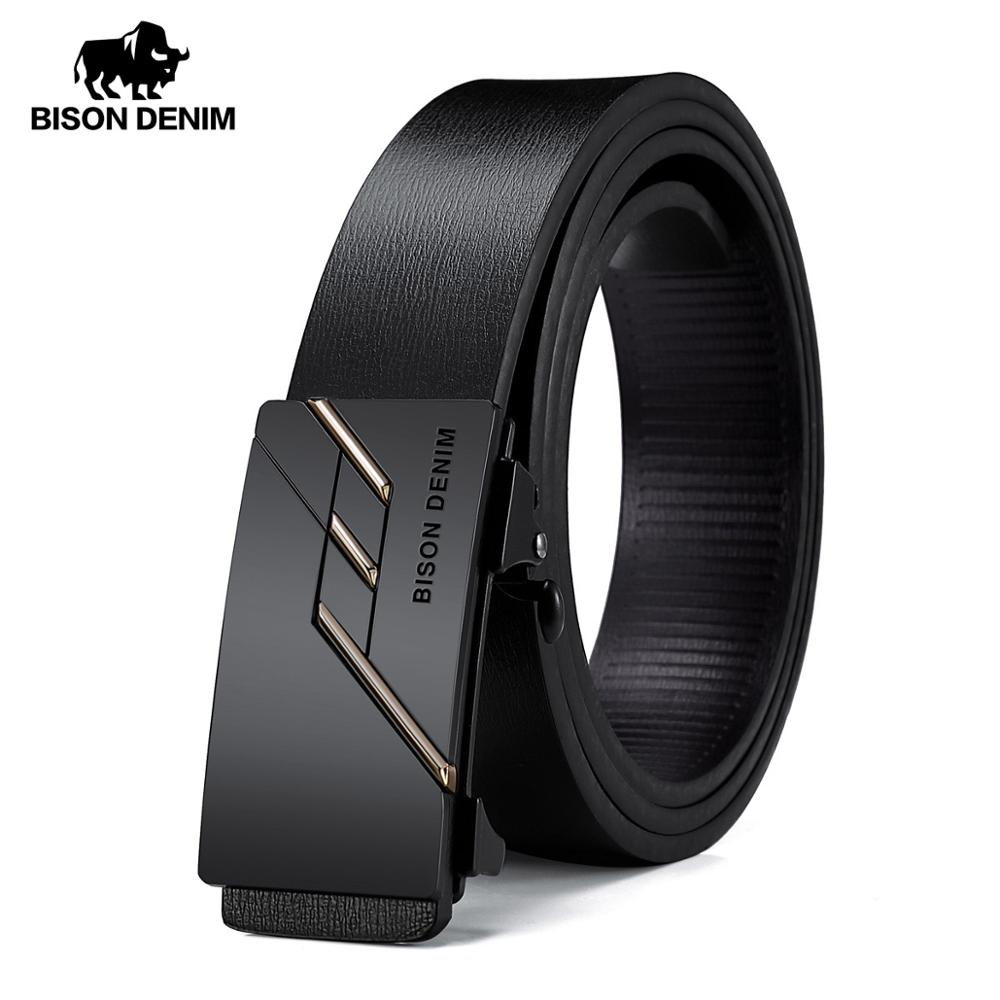 BISON DENIME Men Genuine Leather Belt Automatic Alloy Buckle Belt Classic Fashion Luxury Cow Genuine Leather Belt For Men N71581