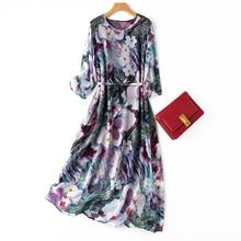 Women's 100% Silk three-quarter Sleeve Fashion romantic ink Floral Printed Long Dress Crew Neck One Size L1008