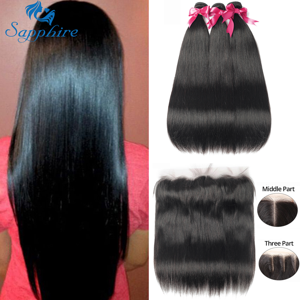 Sapphire Hair Extensions Brazilian Human Hair Weave 3 Bundles With Frontal Closure Straight Human Hair Bundles With Closure