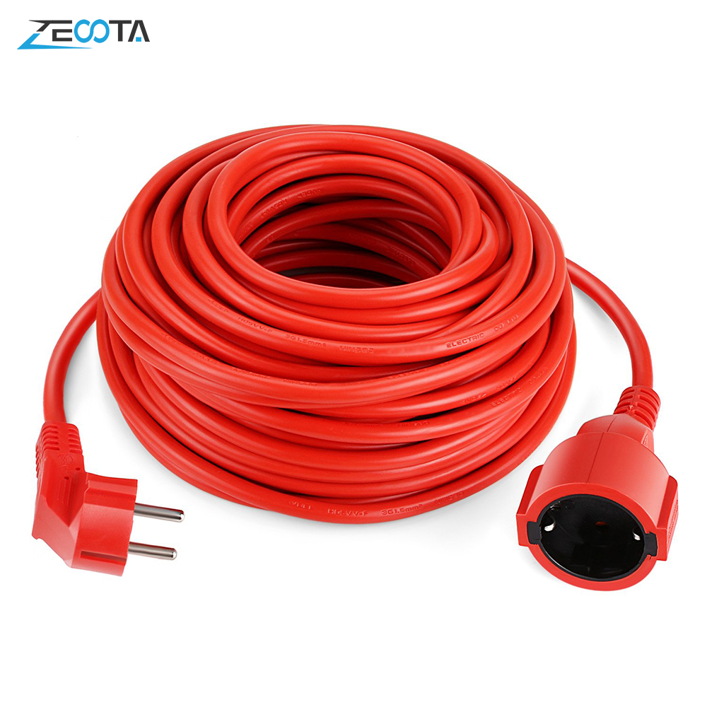 Power Strip Extension Cord 5/10/20m Cable EU Plug Outlets 4000w Electric Schuko Red Color Indoor Sockets IP20