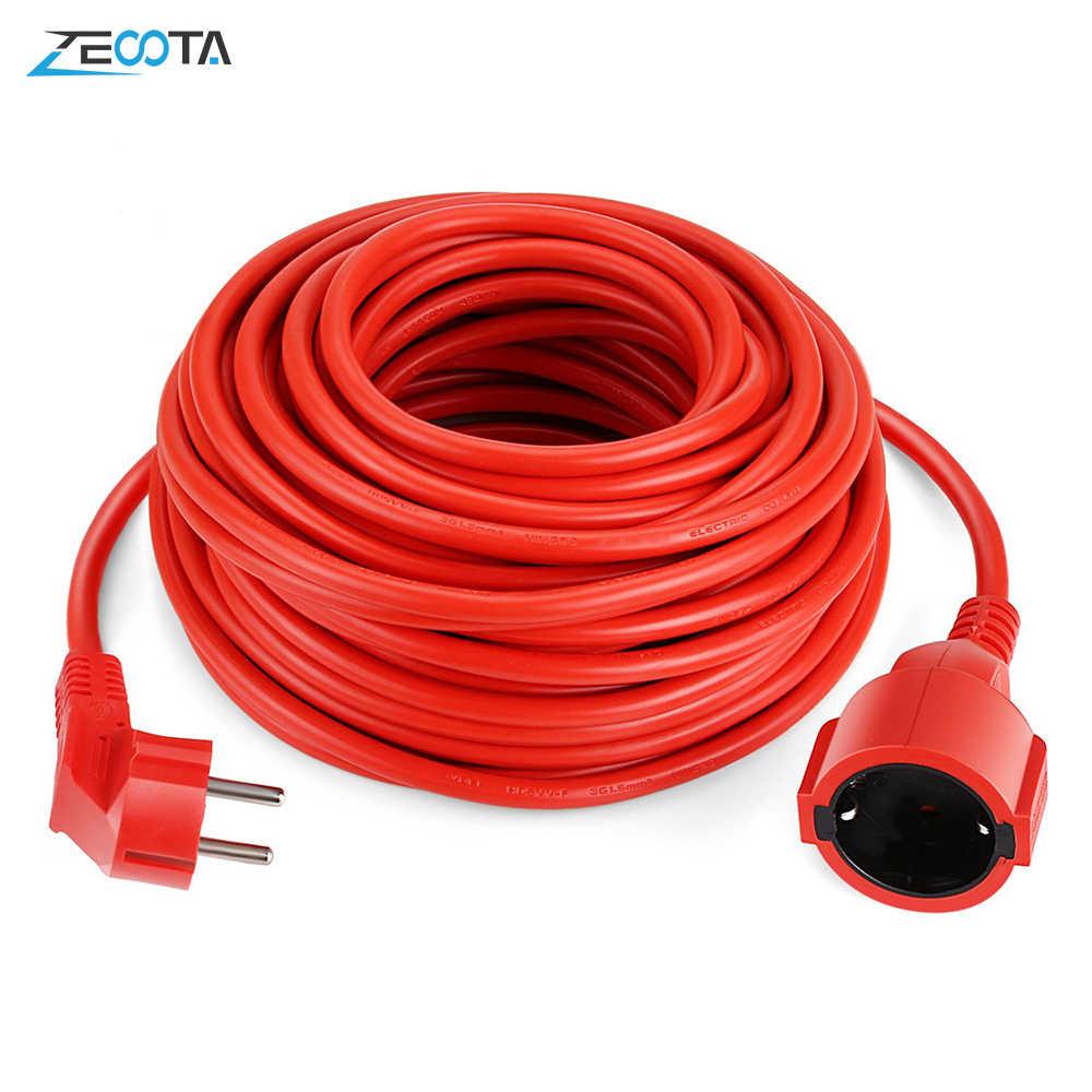 Power Strip Kabel Ekstensi 5/10/20 M Kabel Uni Eropa Plug Outlet Listrik 4000 W Schuko Warna Merah indoor Soket IP20