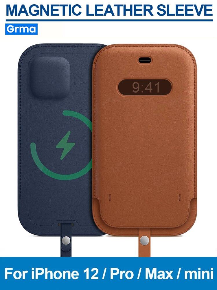 Custodia in vera pelle originale GRMA per iPhone 12 Pro Max mini custodia Mag custodia protettiva magnetica per portafoglio