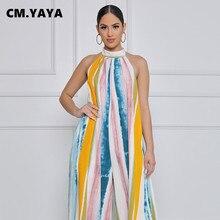 CM.YAYA – combinaison rayée sans manches pour femmes, col licou, dos nu, ajouré, Bandage, taille moyenne, ample, tenue de bureau élégante