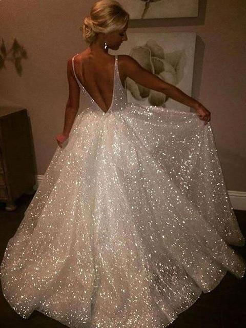 Vestidos noiva 2020 Sparkly Strand Hochzeit Kleid Spaghetti-trägern Backless Braut Hochzeit Kleider EINE Linie Hochzeit Kleid Plus Größe