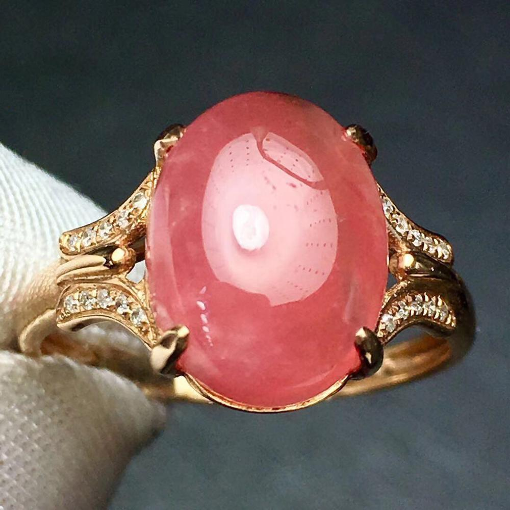 Rhodochrosite Ring Pure 18K Gold Natural Red Rhodochrosite Gemstone 6.5ct Diamonds Female's FIne Rings For Women Classic Rings