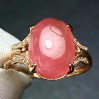 Rhodochrosite Ring Pure 18K Gold Natural Red Rhodochrosite Gemstone 6.5ct Diamonds Female's FIne Rings for Women Classic Rings