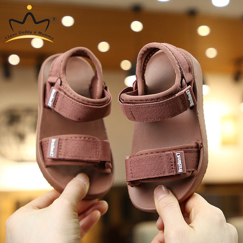 Summer New Canvas Sandals Boys Girls Sandals Solid Color Soft Soled Anti-Slip Children Kids Shoes Summer Beach Sandals