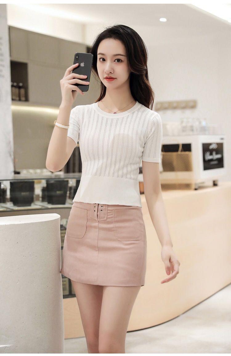 Light Luxury Fashionable Silk Wool Bottoming Shirt Round Neck Vertical Pit Stripe High Elastic Women's Slim Knit