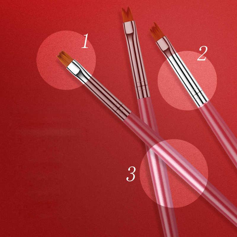 ROHWXY UV เจลแปรง Liner จิตรกรรมปากกาวาดคริลิคแปรงสำหรับเล็บสำหรับ Polygel Gradient Handle เล็บเครื่องมือ